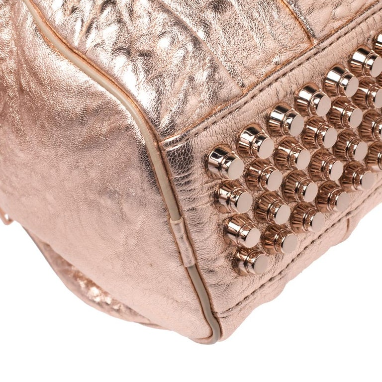 Alexander Wang Metallic Rose Gold Textured Leather Rocco Duffel Bag For Sale 6