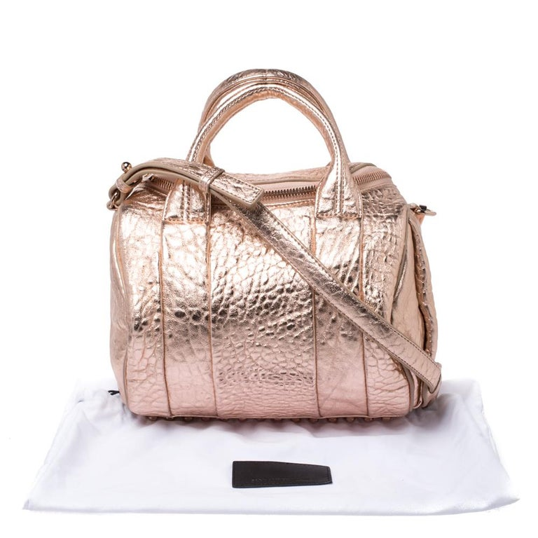 Alexander Wang Metallic Rose Gold Textured Leather Rocco Duffel Bag For Sale 7