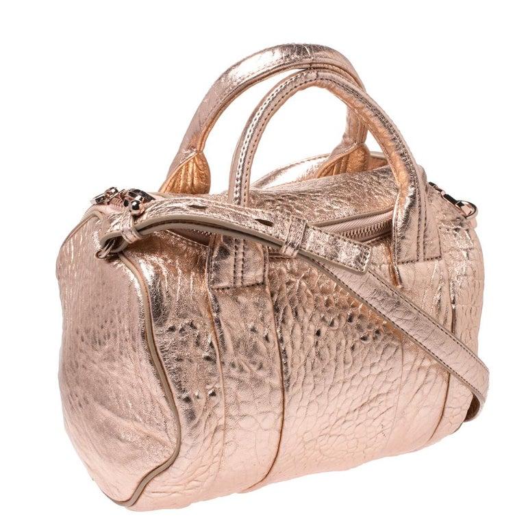 Women's Alexander Wang Metallic Rose Gold Textured Leather Rocco Duffel Bag For Sale
