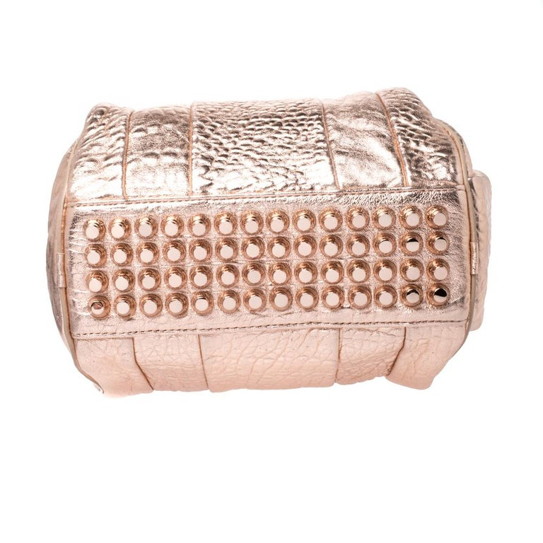 Alexander Wang Metallic Rose Gold Textured Leather Rocco Duffel Bag For Sale 3