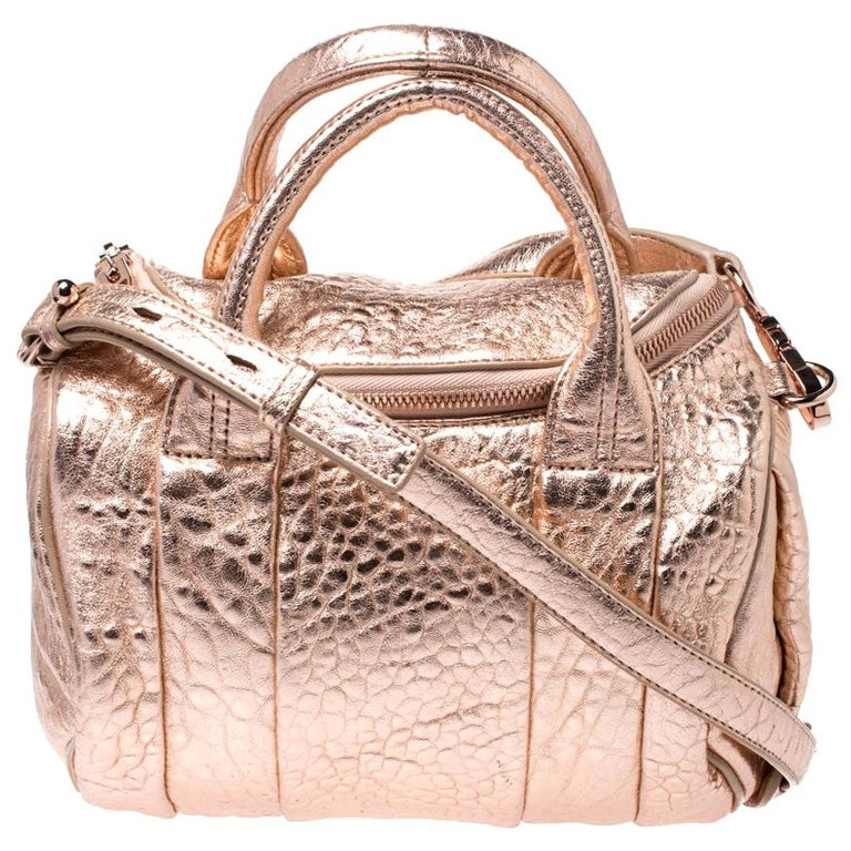 Alexander Wang Metallic Rose Gold Textured Leather Rocco Duffel Bag For Sale