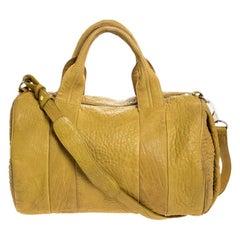 Alexander Wang Mustard Pebbled Leather Rocco Duffel Bag