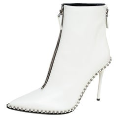 Alexander Wang Off White Leather Ankle Boots Size 41