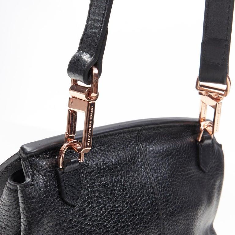 ALEXANDER WANG Prism black leather copper hardware flap shoulder bag For Sale 5