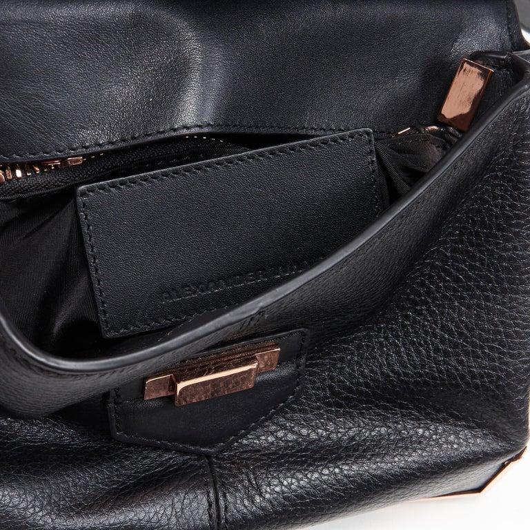 ALEXANDER WANG Prism black leather copper hardware flap shoulder bag For Sale 6