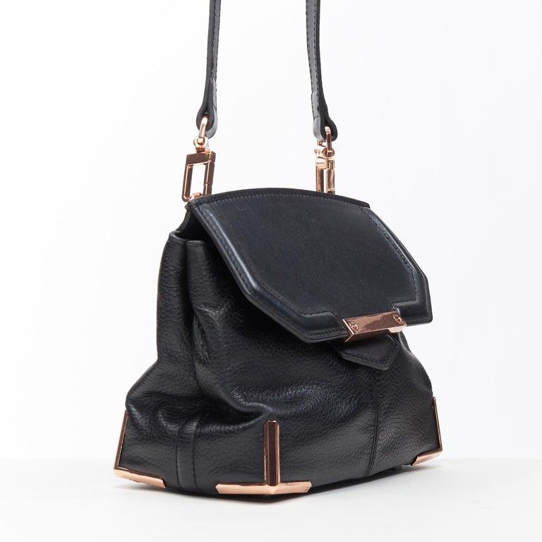 Black ALEXANDER WANG Prism black leather copper hardware flap shoulder bag For Sale