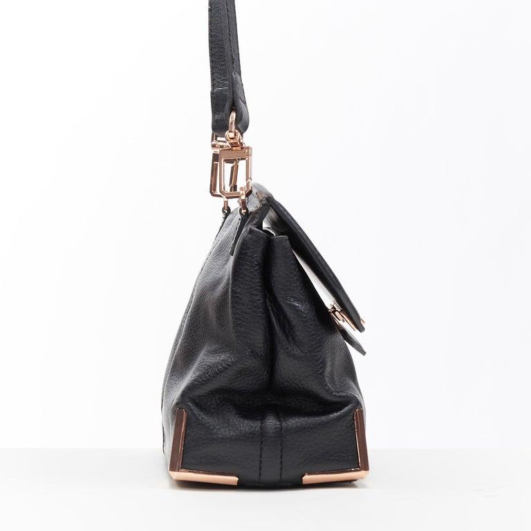 ALEXANDER WANG Prism black leather copper hardware flap shoulder bag In Good Condition For Sale In Hong Kong, NT