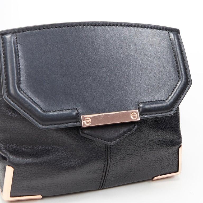 ALEXANDER WANG Prism black leather copper hardware flap shoulder bag For Sale 2