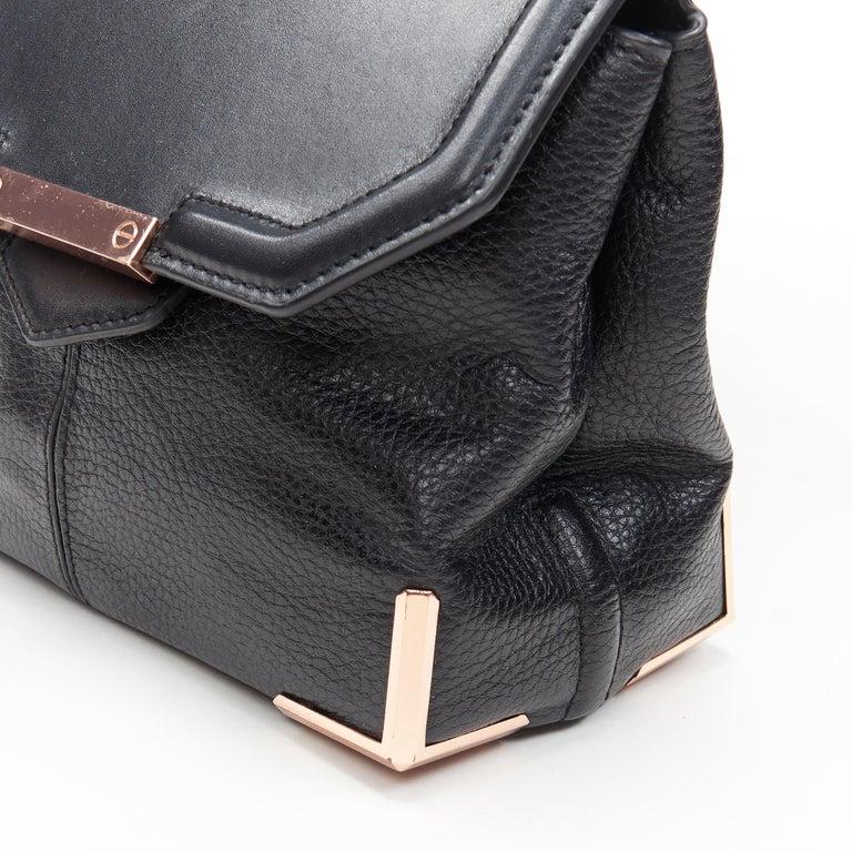 ALEXANDER WANG Prism black leather copper hardware flap shoulder bag For Sale 3