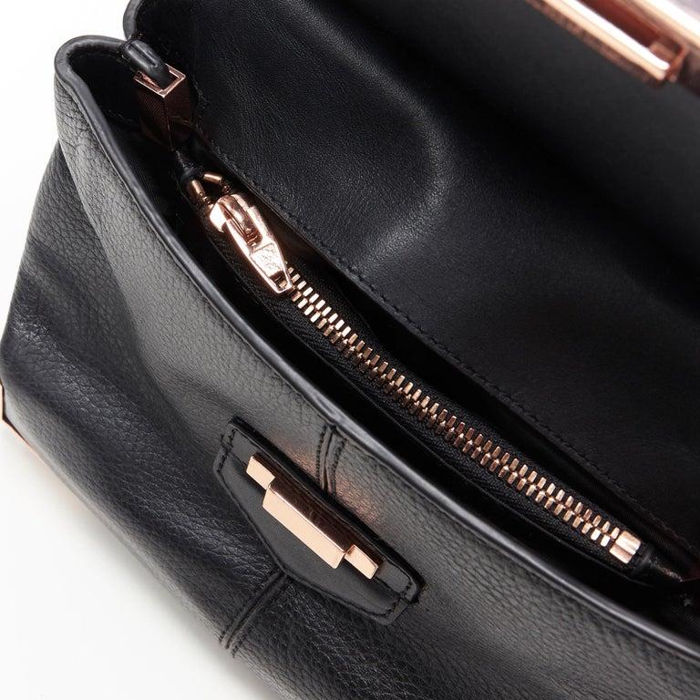 ALEXANDER WANG Prism black leather copper hardware flap shoulder bag For Sale 4