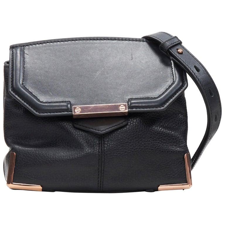 ALEXANDER WANG Prism black leather copper hardware flap shoulder bag For Sale