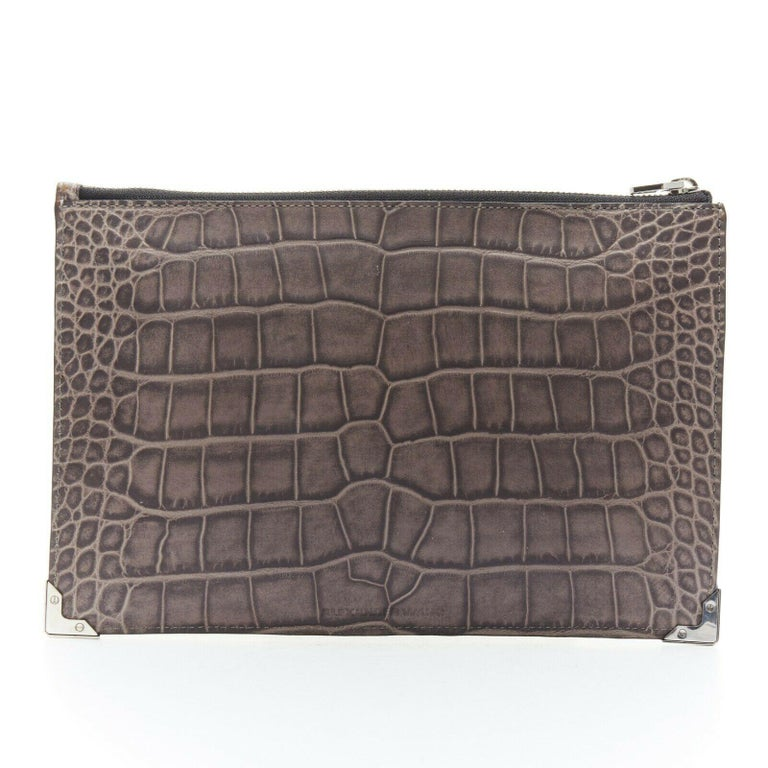 Silver ALEXANDER WANG Prisma clutch leather alligator embossed silver hardware wallet For Sale