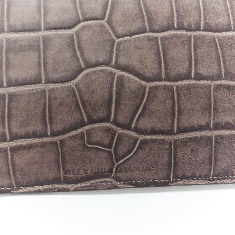 Women's ALEXANDER WANG Prisma clutch leather alligator embossed silver hardware wallet For Sale