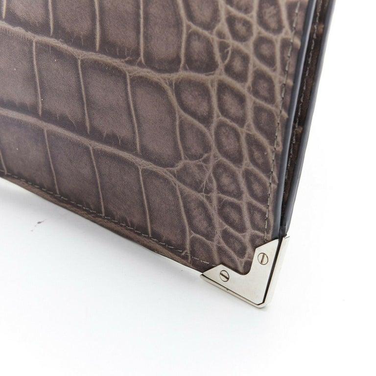 ALEXANDER WANG Prisma clutch leather alligator embossed silver hardware wallet For Sale 1