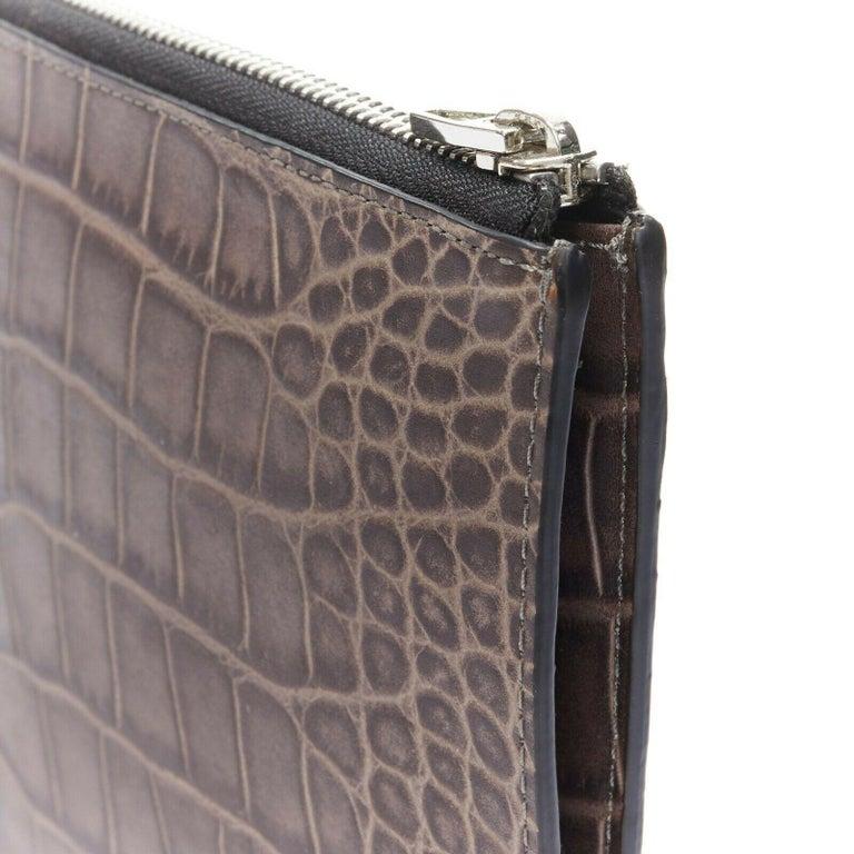 ALEXANDER WANG Prisma clutch leather alligator embossed silver hardware wallet For Sale 2