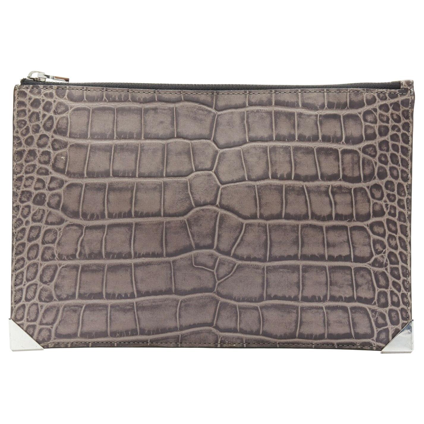 ALEXANDER WANG Prisma clutch leather alligator embossed silver hardware wallet
