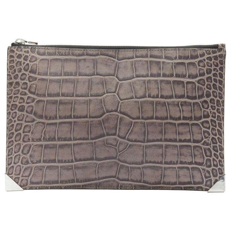 ALEXANDER WANG Prisma clutch leather alligator embossed silver hardware wallet For Sale