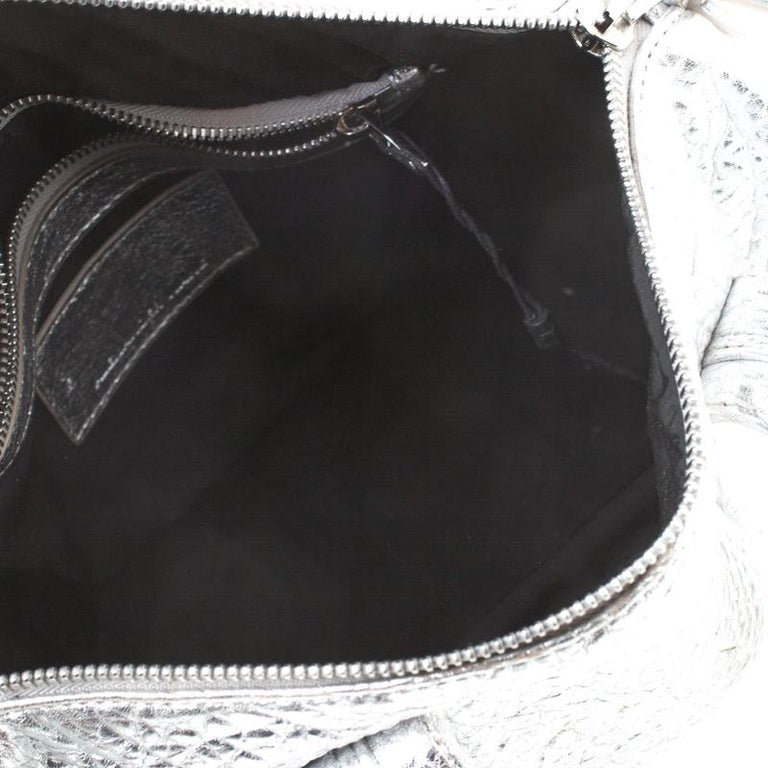 Alexander Wang Silver Pebbled Leather Rocco Duffel Bag 6