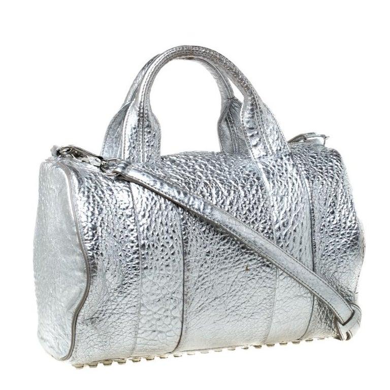 Women's Alexander Wang Silver Pebbled Leather Rocco Duffel Bag