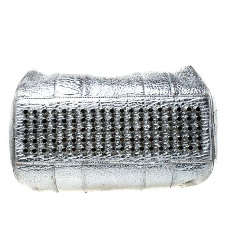 Alexander Wang Silver Pebbled Leather Rocco Duffel Bag 1