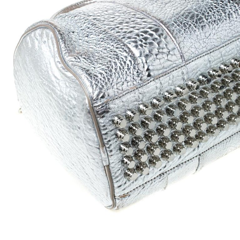 Alexander Wang Silver Pebbled Leather Rocco Duffel Bag 2