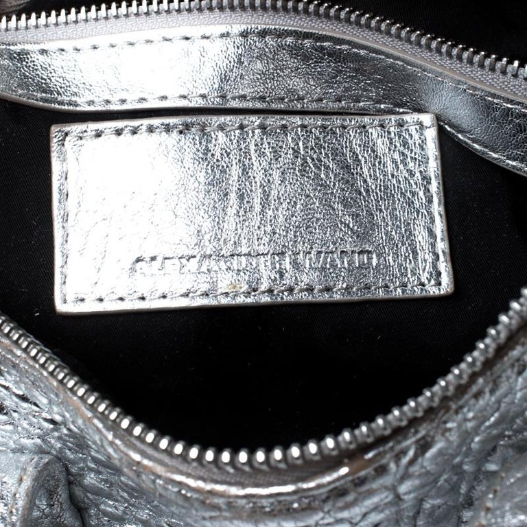 Alexander Wang Silver Pebbled Leather Rocco Duffel Bag 3