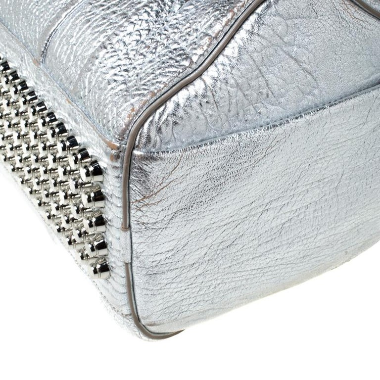 Alexander Wang Silver Pebbled Leather Rocco Duffel Bag 5