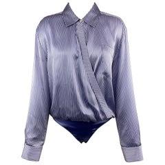 ALEXANDER WANG Size 4 Blue & White Striped Silk Blend Blouse Bodysuit