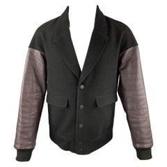 ALEXANDER WANG Size M Black & Burgundy Wool Leather Sleeves Jacket