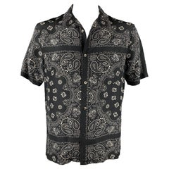 ALEXANDER WANG Size XL Black & Grey Paisley Silk Camp Short Sleeve Shirt