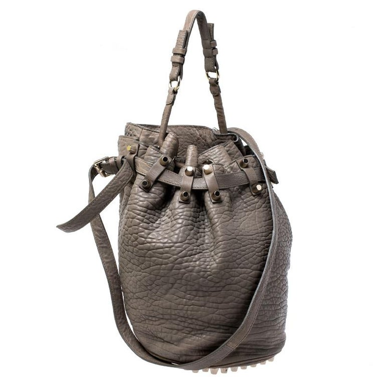 Alexander Wang Taupe Textured Leather Diego Bucket Bag In Good Condition For Sale In Dubai, Al Qouz 2