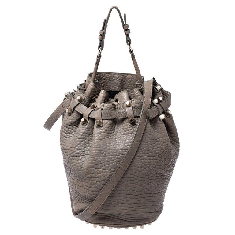 Alexander Wang Taupe Textured Leather Diego Bucket Bag For Sale
