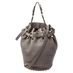 Alexander Wang Taupe Textured Leather Diego Bucket Bag