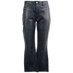 Alexander Wang Women's Black Leather Cropped Bikers Trousers