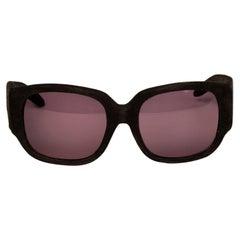 Alexander Wang X Linda Farrow Black Suede Curve Sunglasses