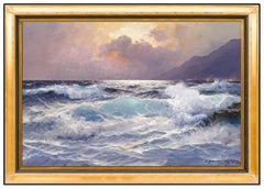 Alexander Dzigurski Large Ocean Seascape Oil Painting On Canvas Signed Artwork