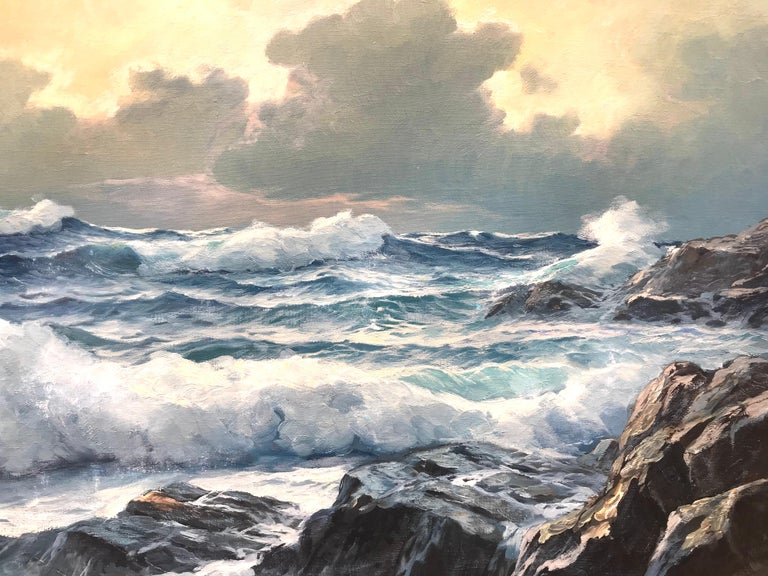 Alexander Dzigurski painted this beautiful oil on canvas seascape in 1960. It is signed lower right and dated 1960. It is copyrighted verso as he did with many of his paintings.  Condition is good. Overall size in original wood frame in very good