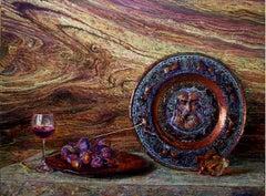 Bordeaux - Still Life Painting Oil Colors Bordeaux White Brown Grey Purple Blue