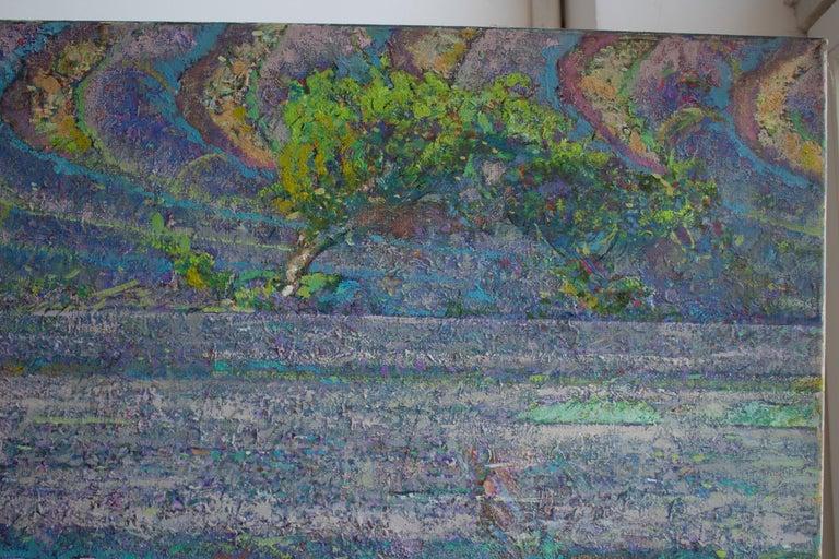Mistral Vincent- Oil Landscape Painting Colors Purple Green Brown Blue White - Black Figurative Painting by Alexandr Reznichenko