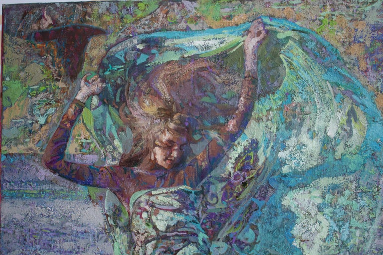 Mistral Vincent- Oil Landscape Painting Colors Purple Green Brown Blue White For Sale 1