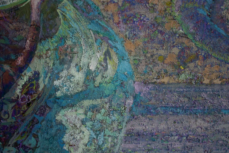 Mistral Vincent- Oil Landscape Painting Colors Purple Green Brown Blue White For Sale 2