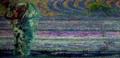 Mistral Vincent- Oil Landscape Painting Colors Purple Green Brown Blue White