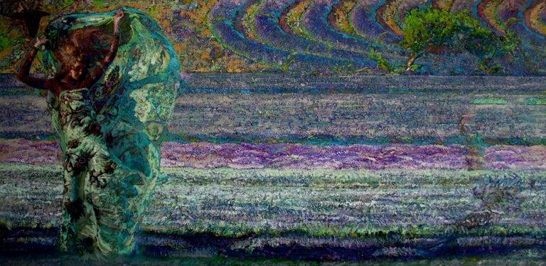 Alexandr Reznichenko Figurative Painting -  Mistral Vincent- Oil Landscape Painting Colors Purple Green Brown Blue White