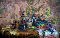 October's Wines - Oil Painting Oil Colors Green White Brown Grey Purple Blue