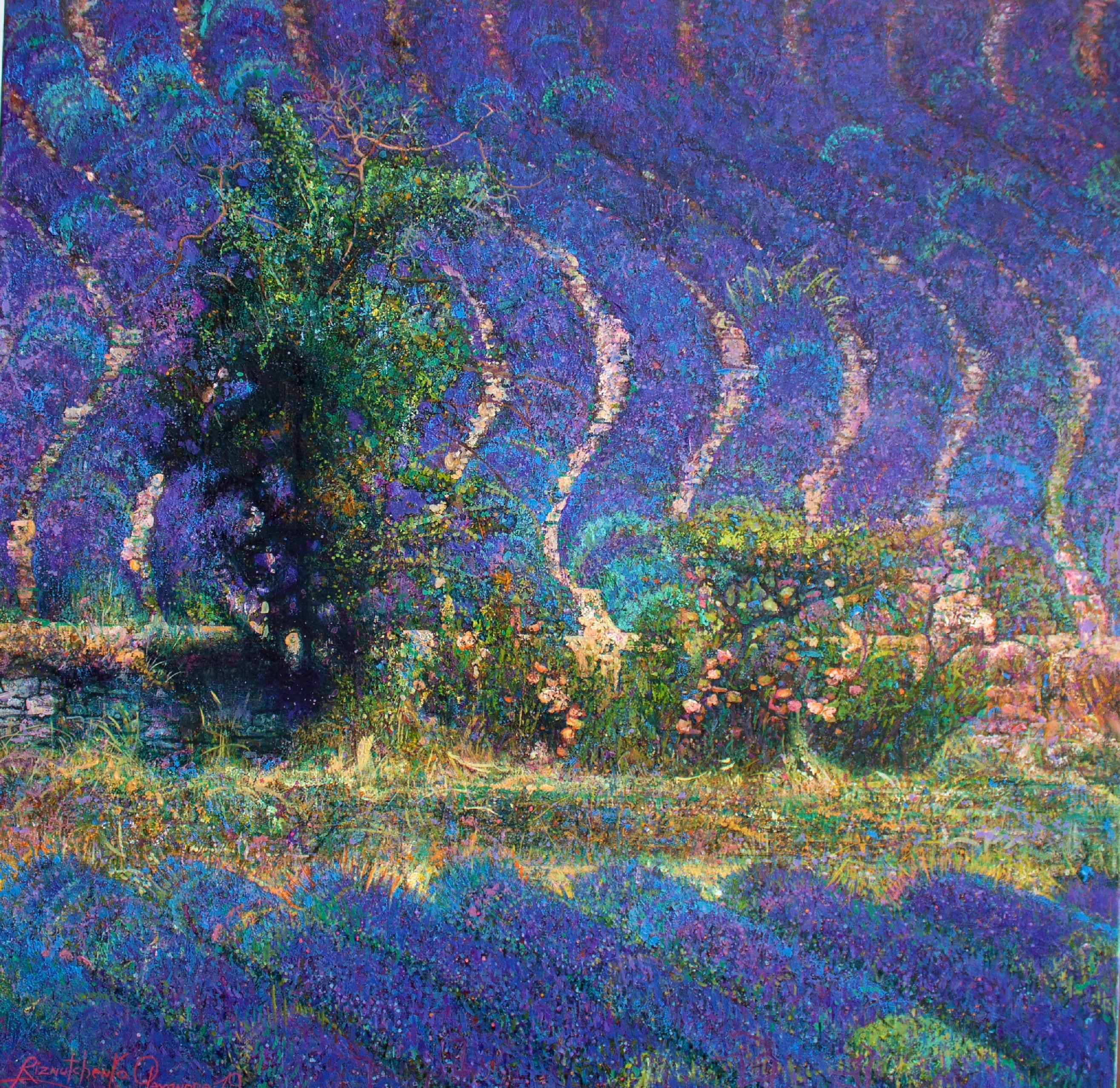Rhythm of Lavender - Oil Landscape Painting Colors Purple Green Brown Blue White
