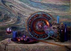 Sirah - Still Life Painting Oil Colors Bordeaux White Brown Grey Purple Blue