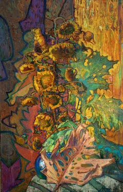 Sunflowers and Burdocks - Oil Painting Colors Green Brown Yellow Orange Blue