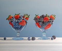 DUET, photo-realism, vivid color, still-life, fruit, blue, red, glass bowls