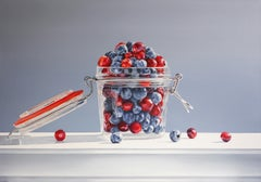 FUSHION, photo-realism, fruit in glass jar, blue, red, vivid colors, bright