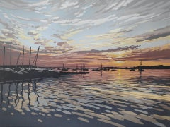 Alexandra Buckle, Quay Sunset, Limited Edition Linocut Print. Seascape Print